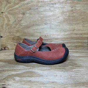KEEN Mary Jane Leather Shoes Women's Size 9 Red Comfort Flats
